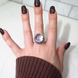 Purple Statement Gemstones Ring Silver metal band